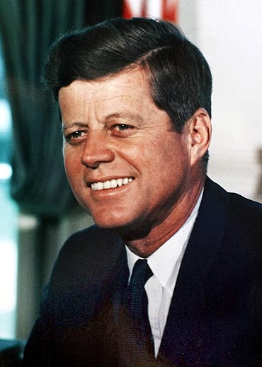President John F. Kennedy is seen working in the O