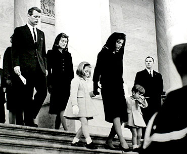 President John F. Kennedy's brother, Robert Kennedy, sister Patricia Lawford, daughter Caroline Kennedy, Jacqueline Kennedy and his son John Jr depart the US Capitol after accompanying the president's casket to the Capitol rotunda in this November 24, 1963 photo