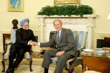 A file photo of Prime Minister Manmohan Singh with then US President George W Bush