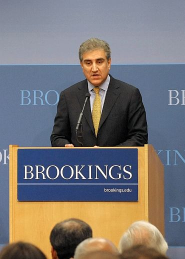 Pakistani Foreign Minister Qureshi delivers remarks at the panel, US and Pakistan: Partners in Development, hosted by Asia Society and Brookings at the Brookings Institution in Washington, DC, on October 20
