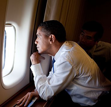 Obama on board Air Force One
