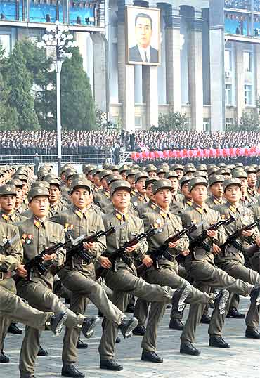 Military personnel participate in a parade in Pyongyang, North Korea