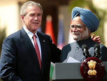 Then US President George W Bush with Dr Singh in New Delhi, March 2006