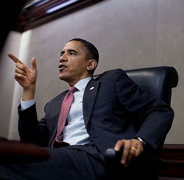 Obama addresses administration officials at the White House