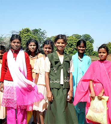Girls on a school excursion to the ruins of Nalanda University