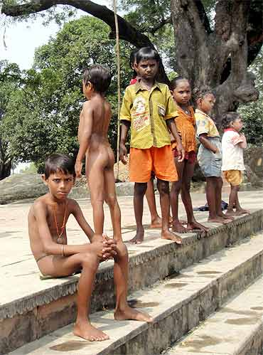 Children at a bathing ghat