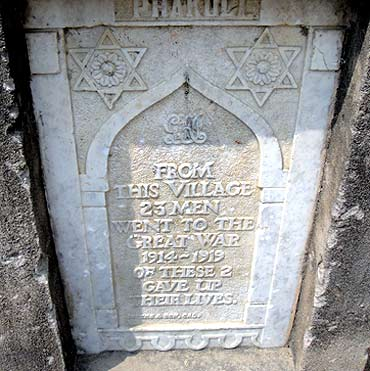 The marble plaque in memory of soldiers from the village who fought in World War I