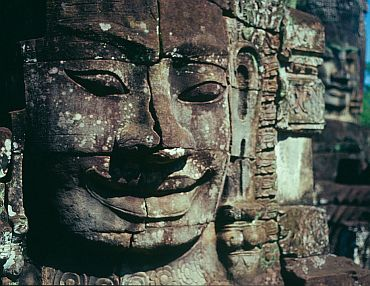The golden age of the Khmer civilization was between the ninth and thirteenth centuries, when the kingdom of Kambuja, which gave Cambodia its name, ruled large territories from its capital at Angkor in Cambodia's west.