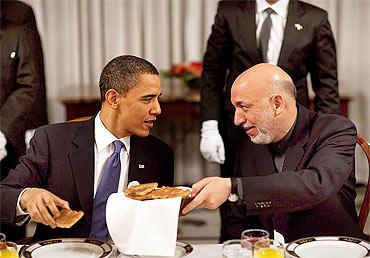 President Barack Obama with Afghanistan President Hamid Karzai
