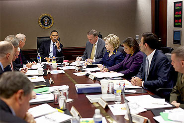 President Barack Obama discusses the Afghanistan situation with his national security team