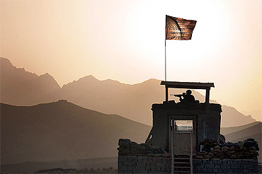 A soldier provides security from a tower in the Zabul province of Afghanistan