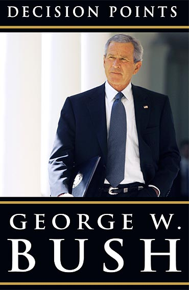 Former US President George W Bush is seen on the cover of his memoir titled 'Decision Points'