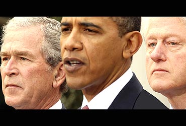 US President Barack Obama with former US Presidents George W Bush and Bill Clinton