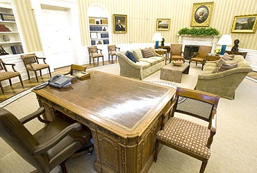 The Oval Office seen from behind Obama's desk
