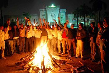University students hold a bon-fire protest