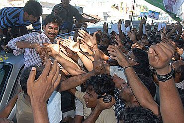 Jagan greets his supporters outside his residence
