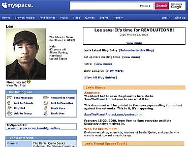 A frame grab from MySpace.com page of James J Lee, the gunman killed by police following the hostage episode at the Discovery Channel headquarter in Silver Spring