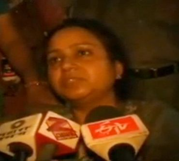 Video grab of Saxena talking to media persons after the incident