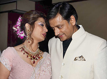 Newly wedded couple Sunanda Pushkar and MP Shashi Tharoor at their wedding reception in Indian Habitat Centre, New Delhi