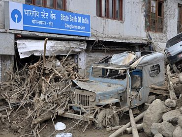 A State Bank of India branch in ruins in Choglamsar