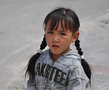 A girl from Choglamsar at a relief camp