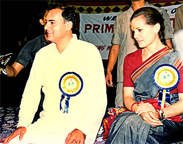 A file photo of Sonia with Rajiv Gandhi