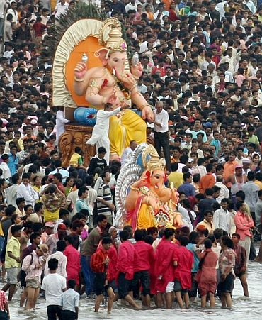 A Ganesh idol being taken for immersion