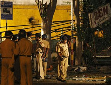 Cops inspecting the blast site