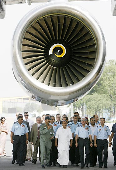Defence Minister A K Antony at the induction ceremony of IL-78 aircraft armed with Israeli AWACS, at Palam air force station, New Delhi