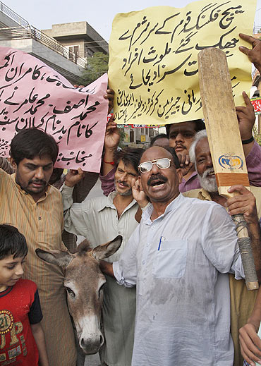 Pakistani cricket fans pose with a donkey as they hold placards and shout slogans aga