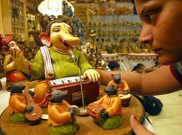 An exhibition of Ganesh idols in Dadar