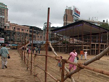 The Girgaum Chowpatty being readied for the immersion of Ganesh idols on September 22