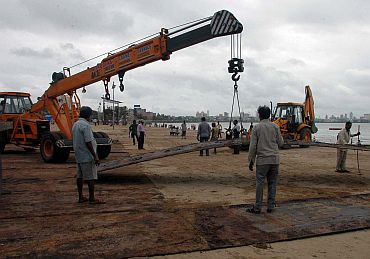 Work is on in Girgaum Chowpatty ahead of the Visarjan on September 22