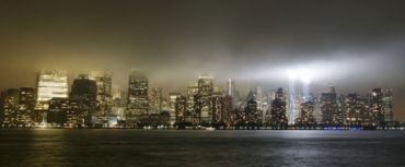 The 'Tribute in Lights' illuminates the sky over lower Manhattan