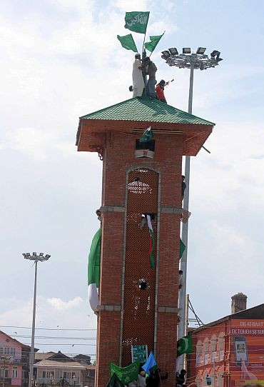 Protestors on top of the clocktower