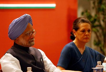 Dr Singh and Sonia at an awards ceremony in New Delhi