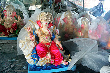 Ganesha idols made from PoP in Pen