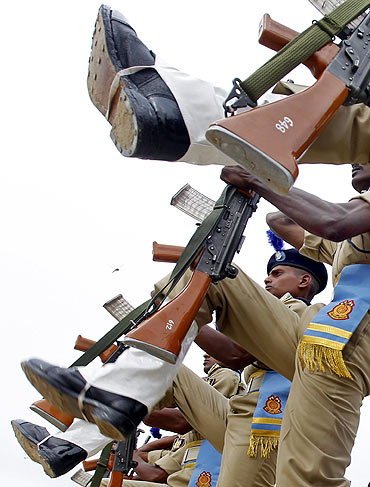 CRPF personnel during a passing out parade in Humhama, on the outskirts of Srinagar