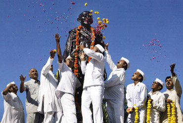 Celebrations at a Gandhi statue in Bhopal