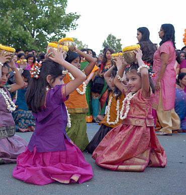 Children perform a traditional dance at the Ganeshotsav celebrations in Philadelphia