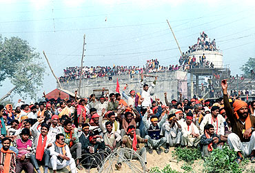 A file photograph of 'karsevaks' listening to speeches by leaders near the disputed mosque in Ayodhya