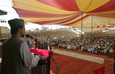 Chairman of the moderate faction of All Parties Hurriyat (Freedom) Conference Mirwaiz Umar Farooq conducts a seminar on the Kashmir issue in Karachi