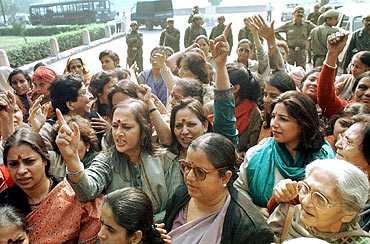 Women activists during a protest outside Parliament demanding the introduction of the women's reservation bill