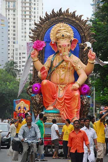 A Ganesh idol being taken in a procession