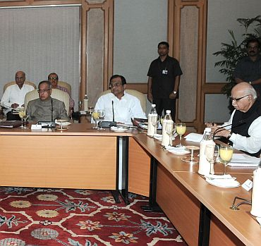 Leader of the Opposition LK Advani at the meeting with Home Minister P Chidambaram and Finance Minister Pranab Mukherjee