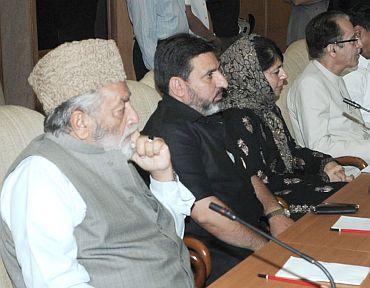 Kashmiri leaders at the meeting