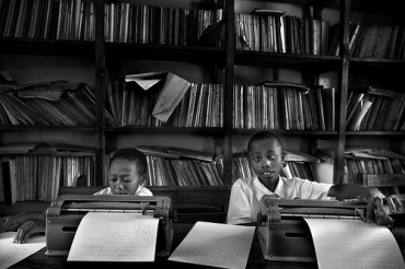 Students at a school for the visually impaired in Tanzania