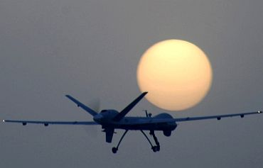 A US drone returns to base after a routine sortie