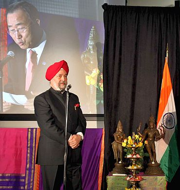 India's Permanent Representative to the UN Hardeep Puri; Also seen, UN Secretary General Ban Ki-moon