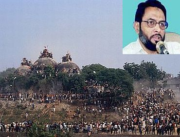 The Babri Masjid demolition, December 6, 1992. Inset: Dr S Q R Illyas